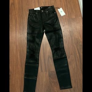 7 For All Mankind Coated Skinny Ankle-Length 24